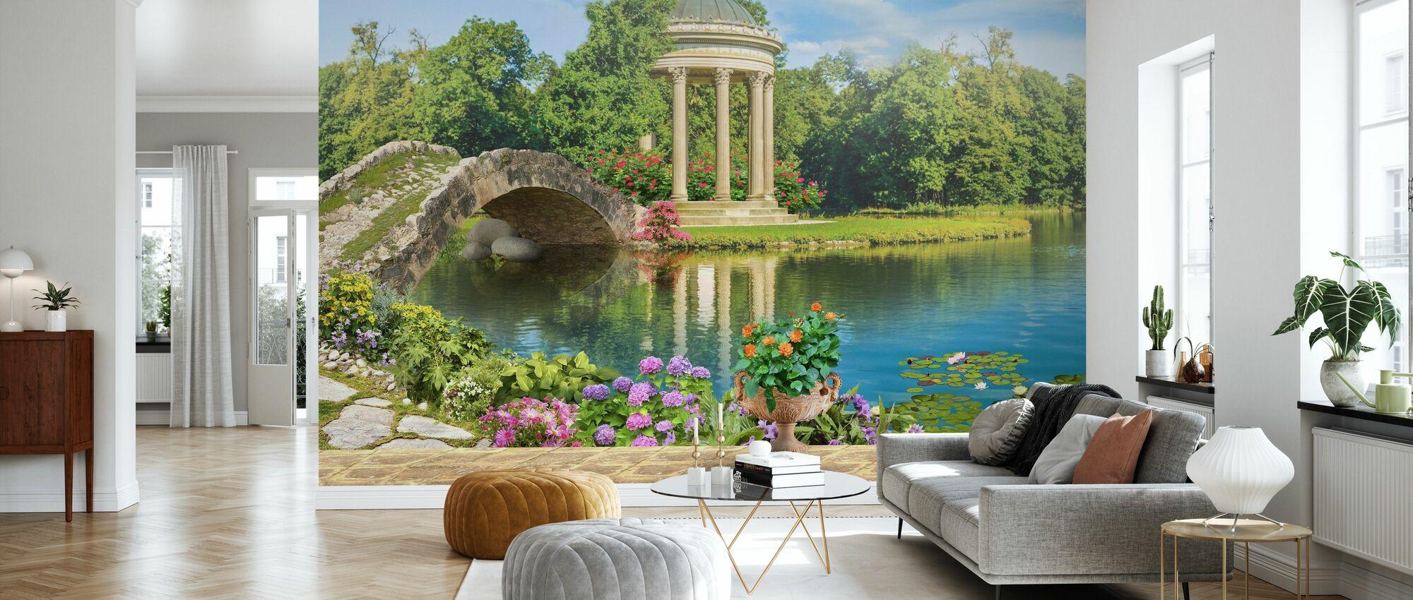 Swans in Pond - Wallpaper - Living Room