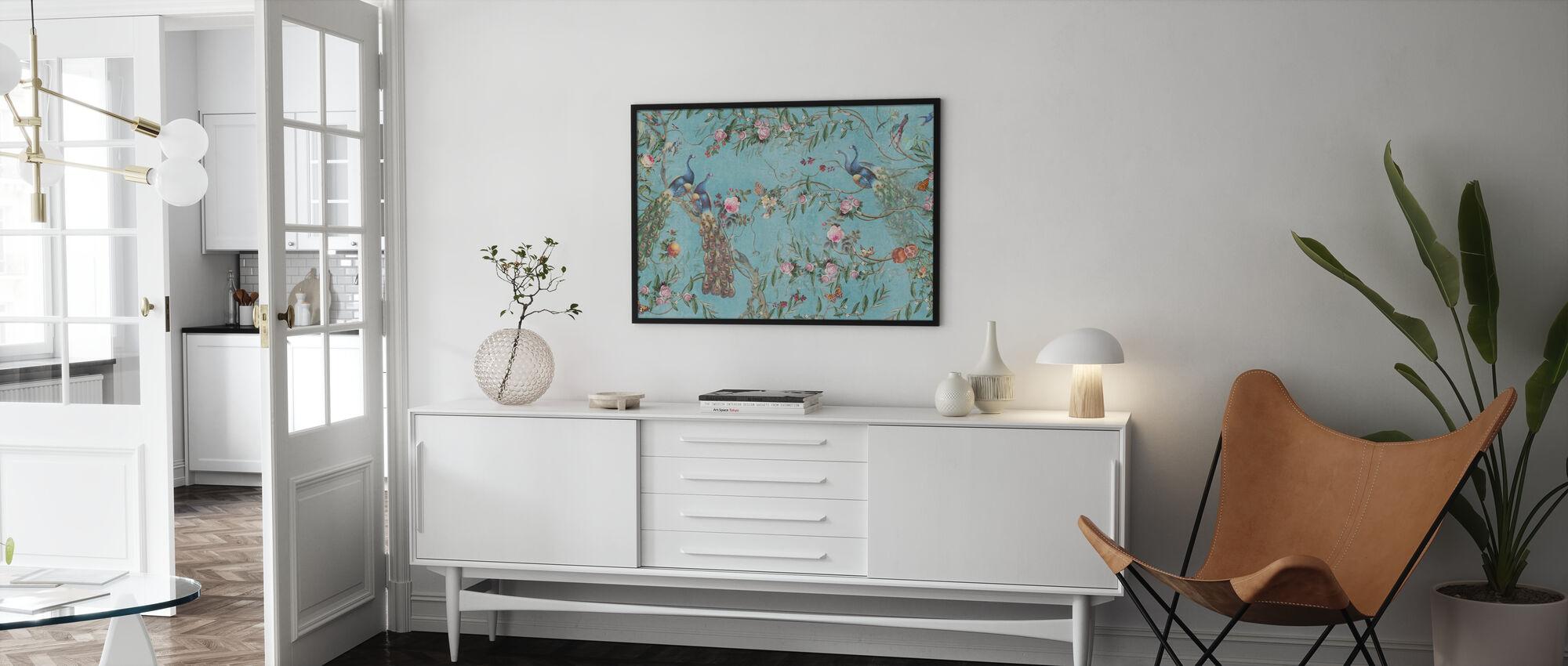 Pauwen en Bloemen - Ingelijste print - Woonkamer