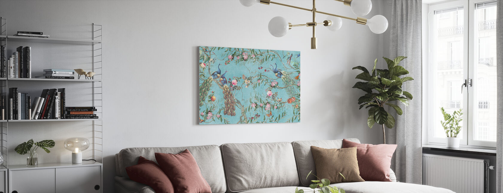 Peacocks and Flowers - Canvas print - Living Room