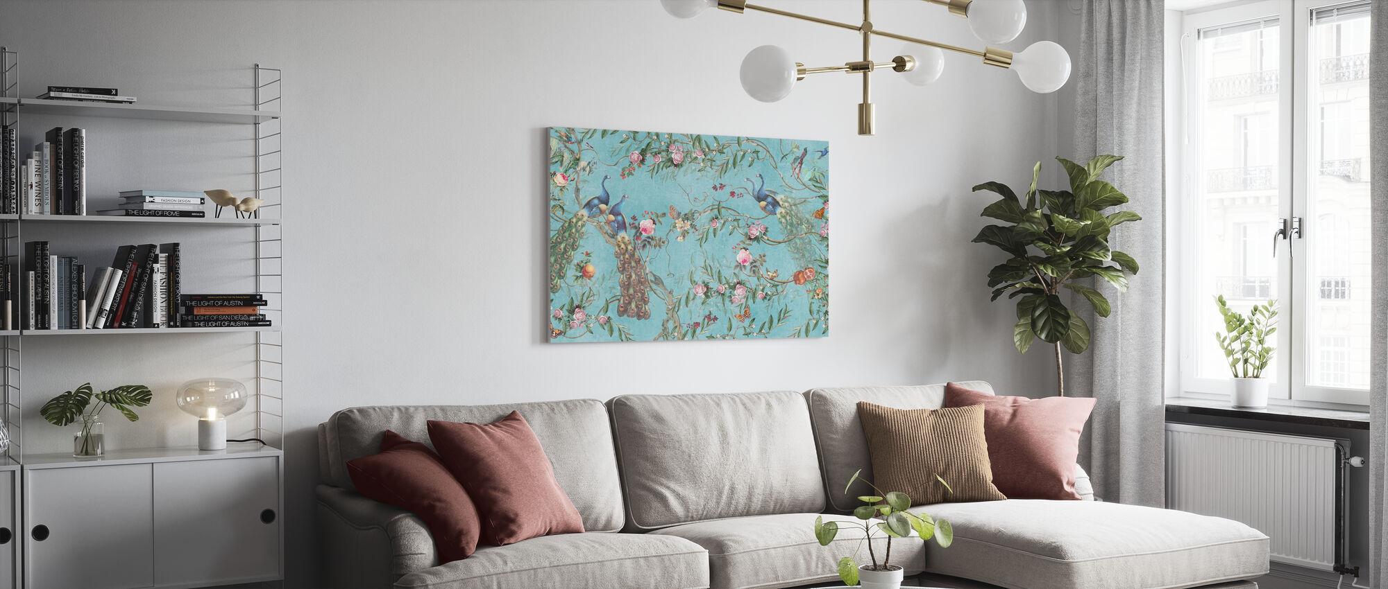 Pfauen und Blumen - Leinwandbild - Wohnzimmer