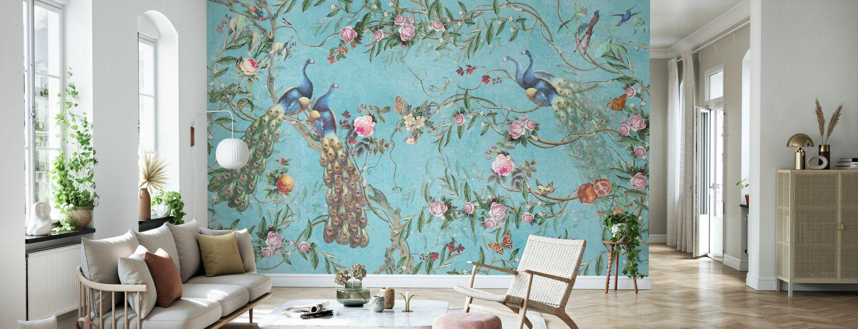 Påfugle og blomster - Tapet - Stue
