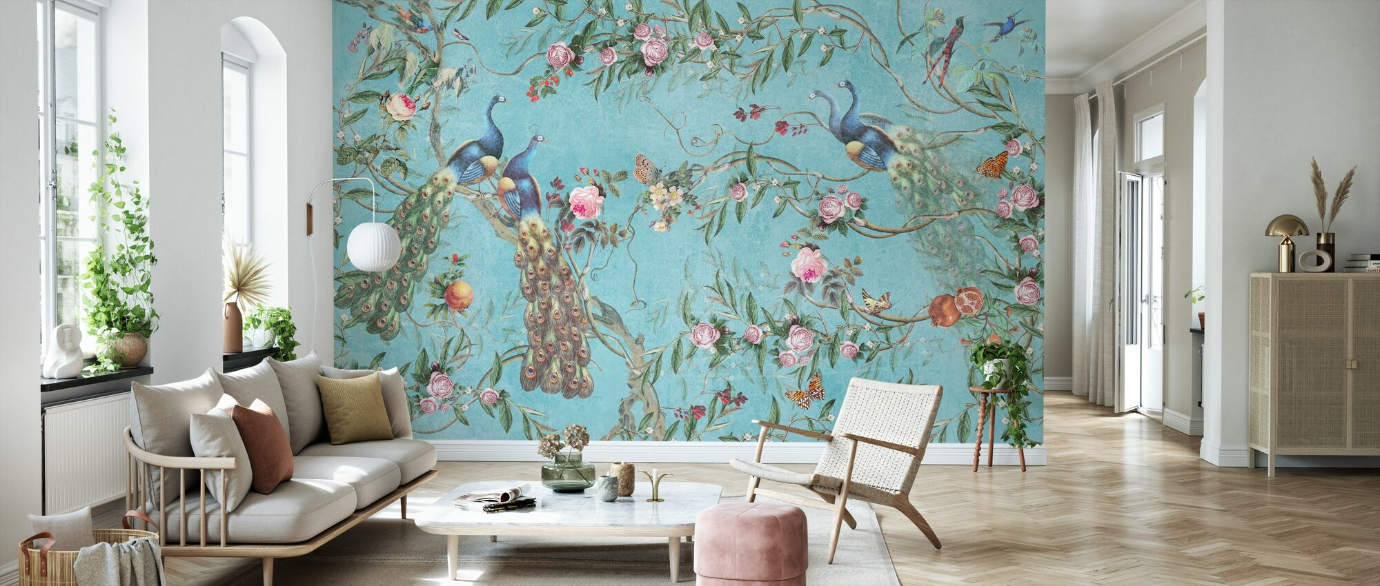 Peacocks and Flowers - Wallpaper - Living Room
