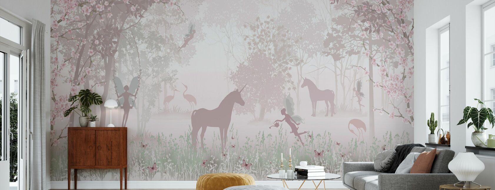 Einhörner und Feen - Tapete - Wohnzimmer