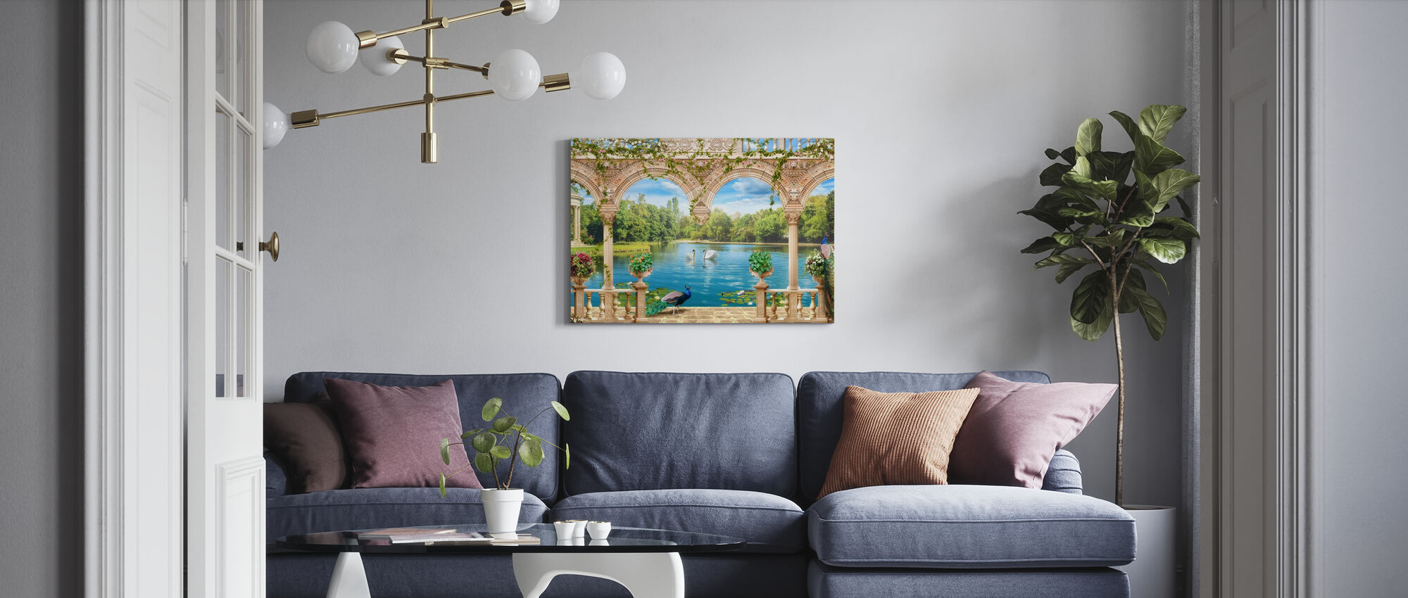 Swans in Park - Canvas print - Living Room