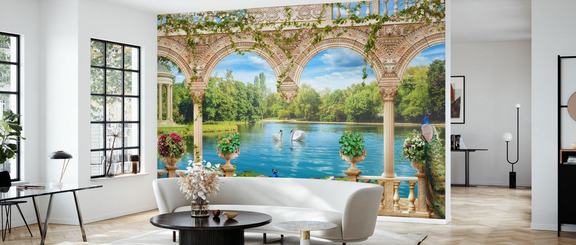 Swans in Park - Wallpaper - Living Room