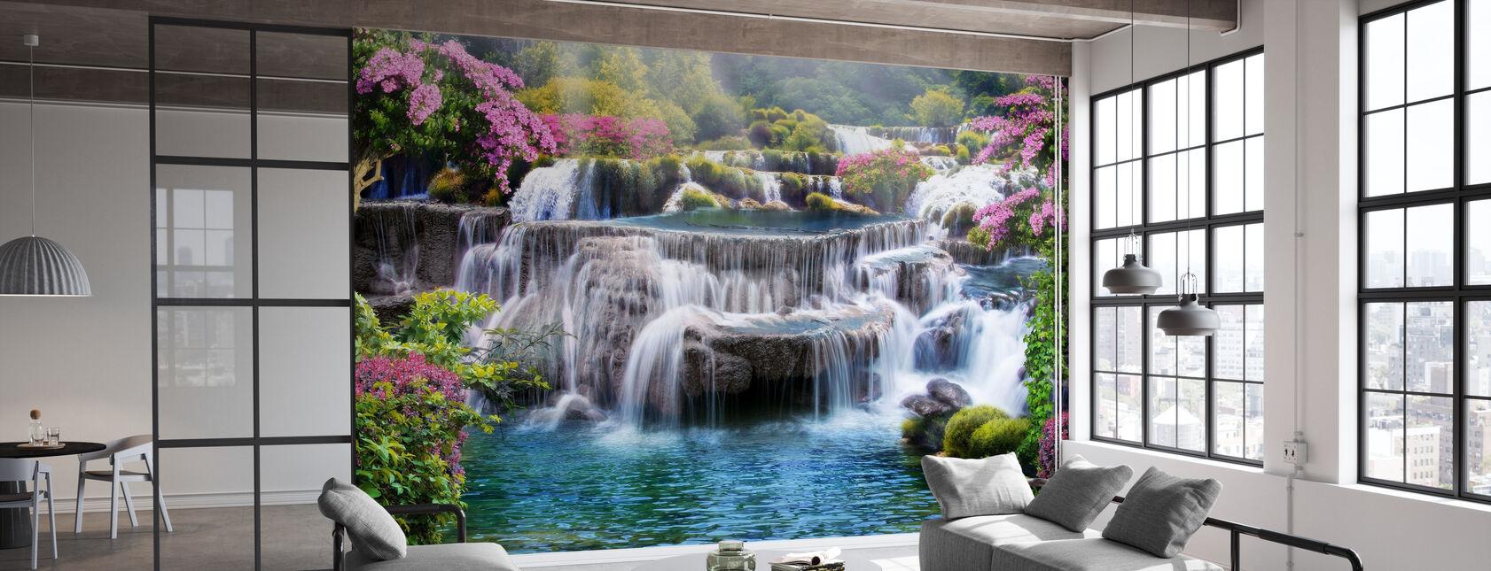 Tropical Waterfall - Wallpaper - Office