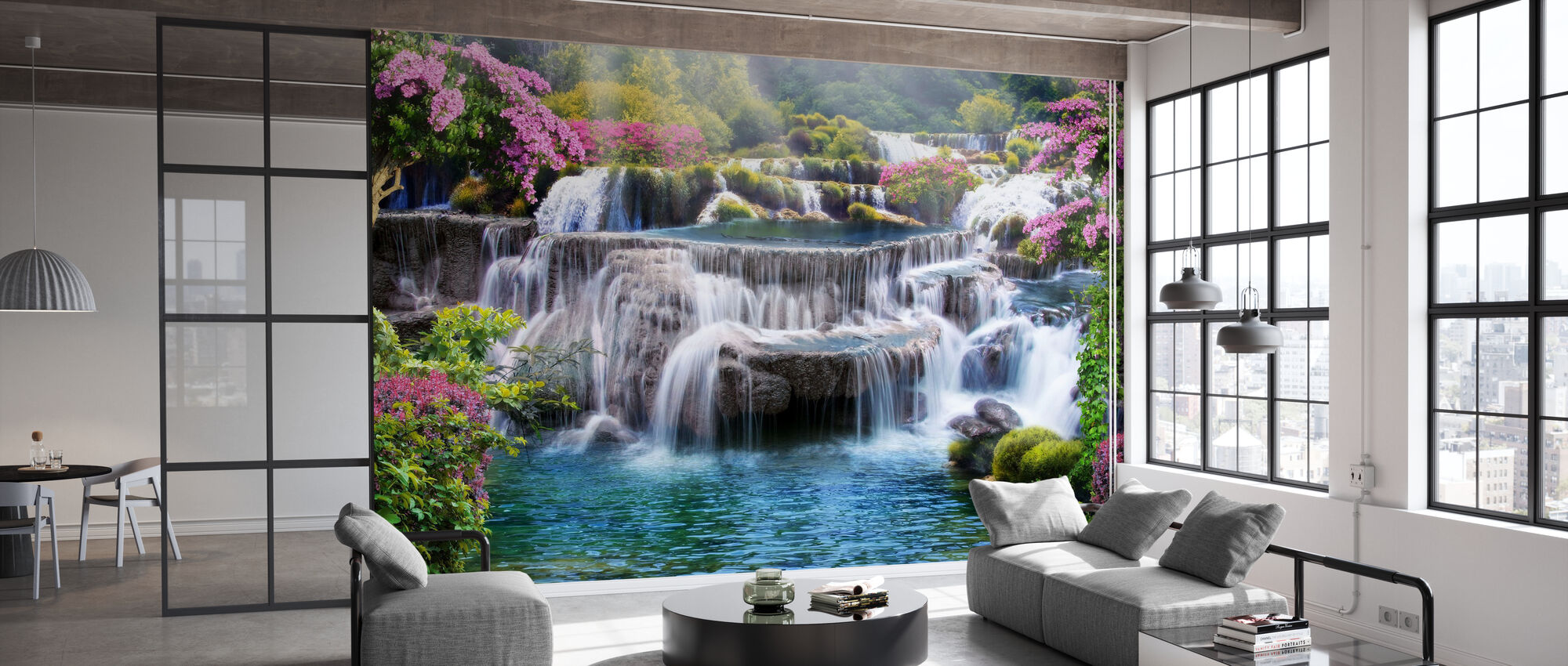 Tropical Waterfall - Wallpaper - Office