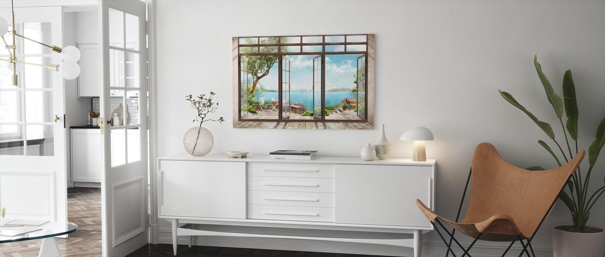 Rum med utsikt - Canvastavla - Vardagsrum
