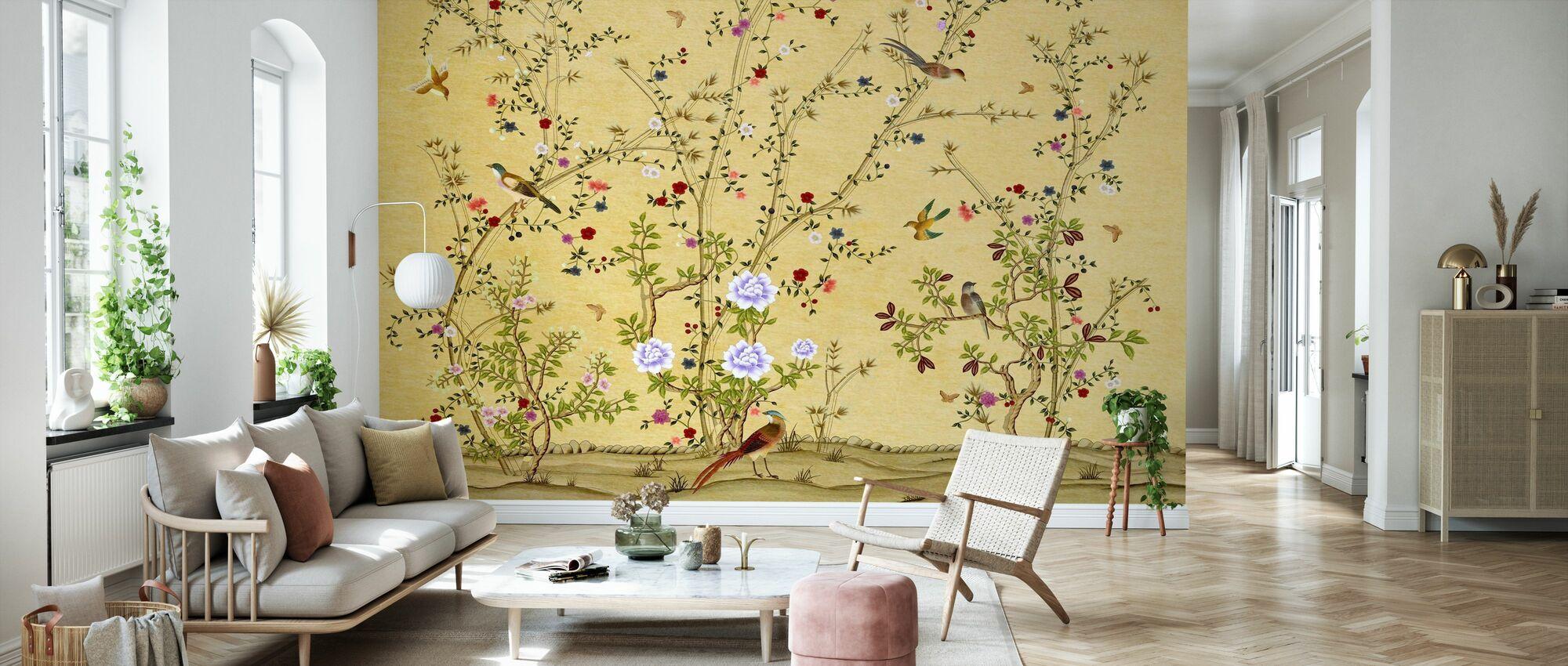 Vögel auf Zweigen - Tapete - Wohnzimmer