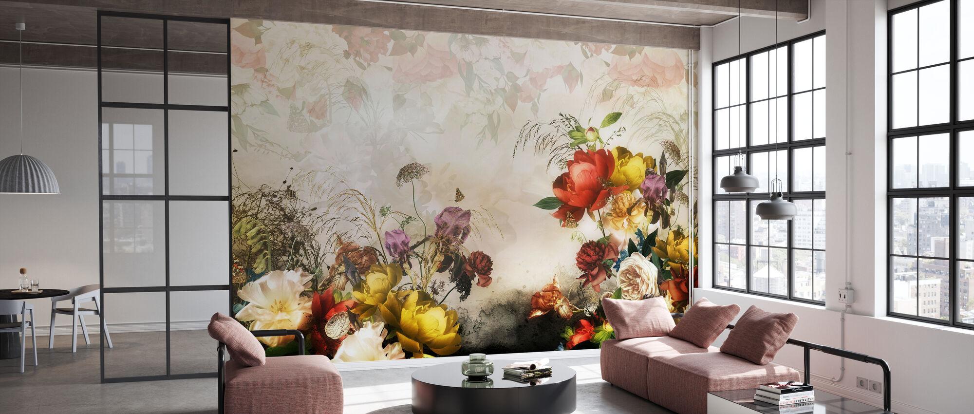 Romantische Blumen - Tapete - Büro