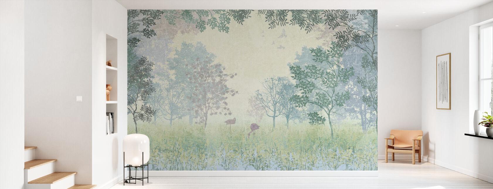 Flamingos i grumlig skog - Tapet - Hall