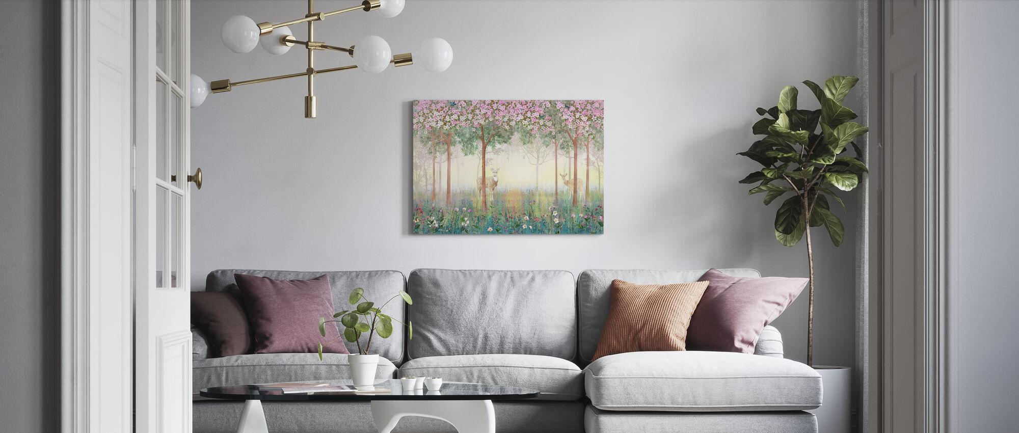 Cerfs dans la forêt rêveuse - Impression sur toile - Salle à manger