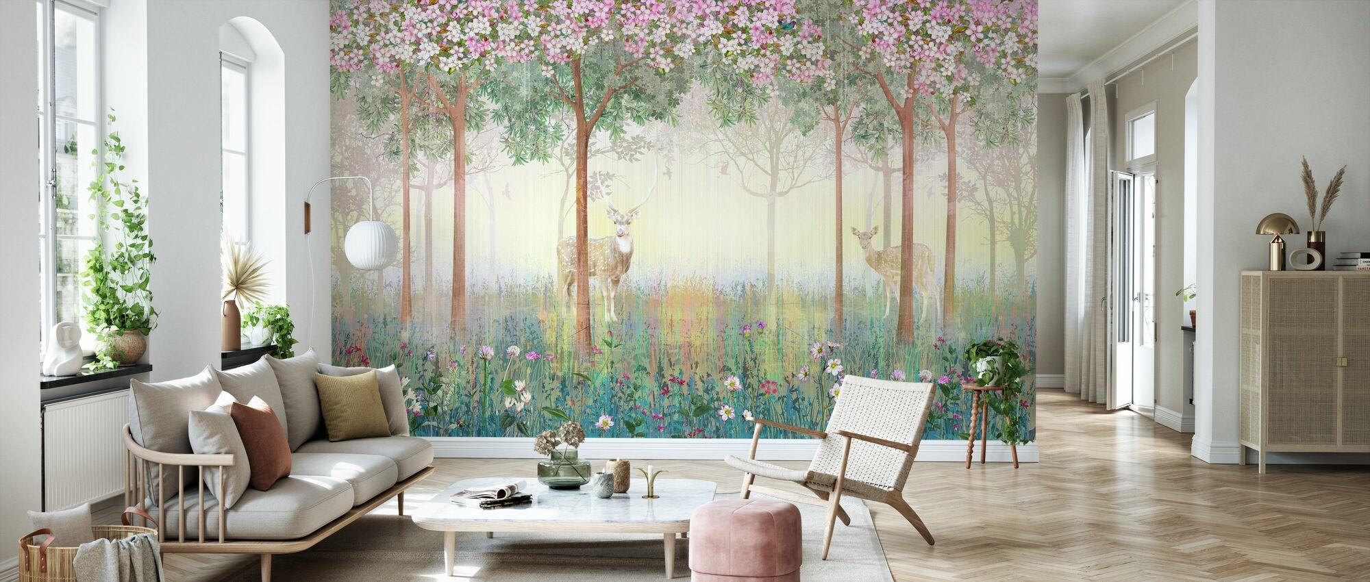 Deers in Dreamy Forest - Wallpaper - Living Room