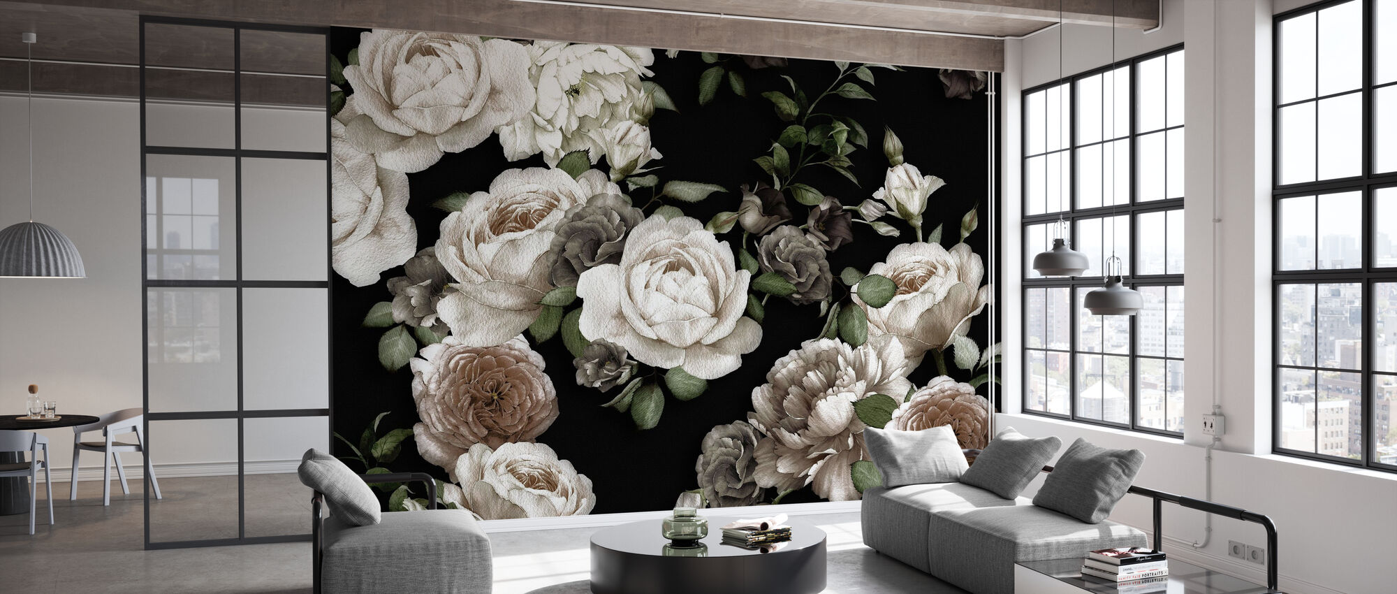 White Roses on Black Background - Wallpaper - Office