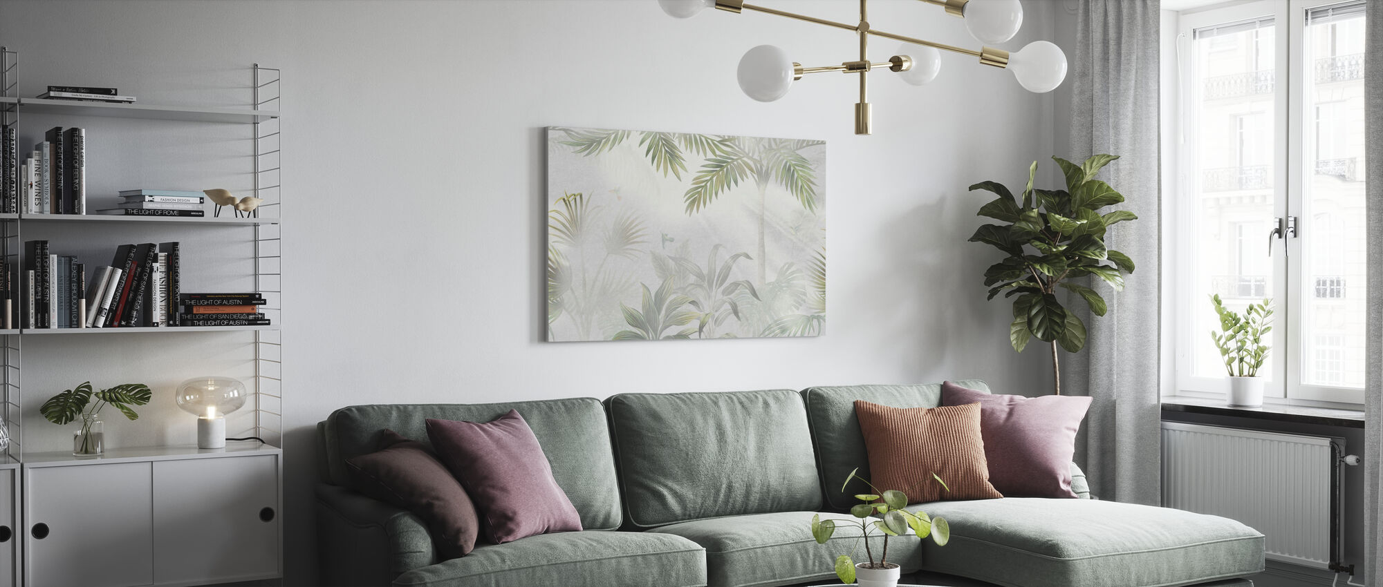 Foggy Jungle - Olive - Canvas print - Living Room