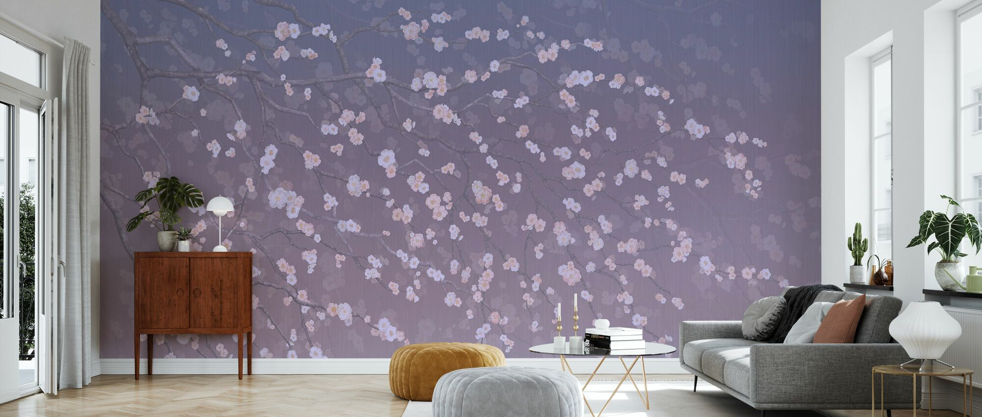 Sakura - Purplish - Tapet - Vardagsrum