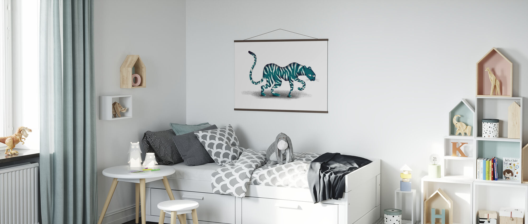 Blue Jungle Animal - Poster - Kids Room