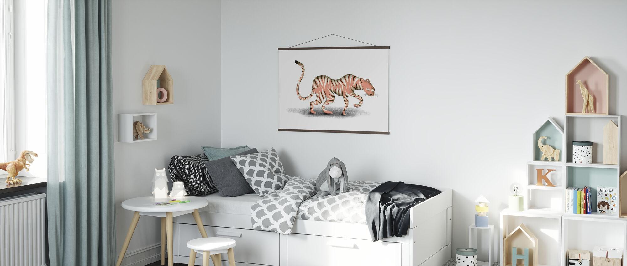 Roze Jungle dier - Poster - Kinderkamer