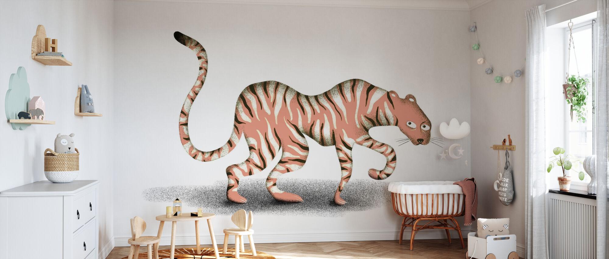 Animal de la jungle rose - Papier peint - Chambre de bébé