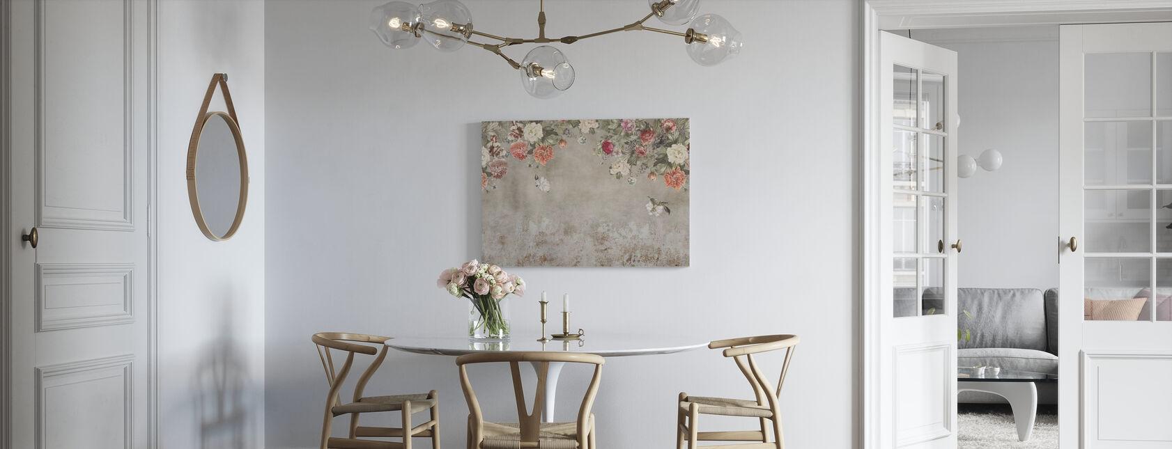 Vintage Flower Wall - Stampa su tela - Cucina