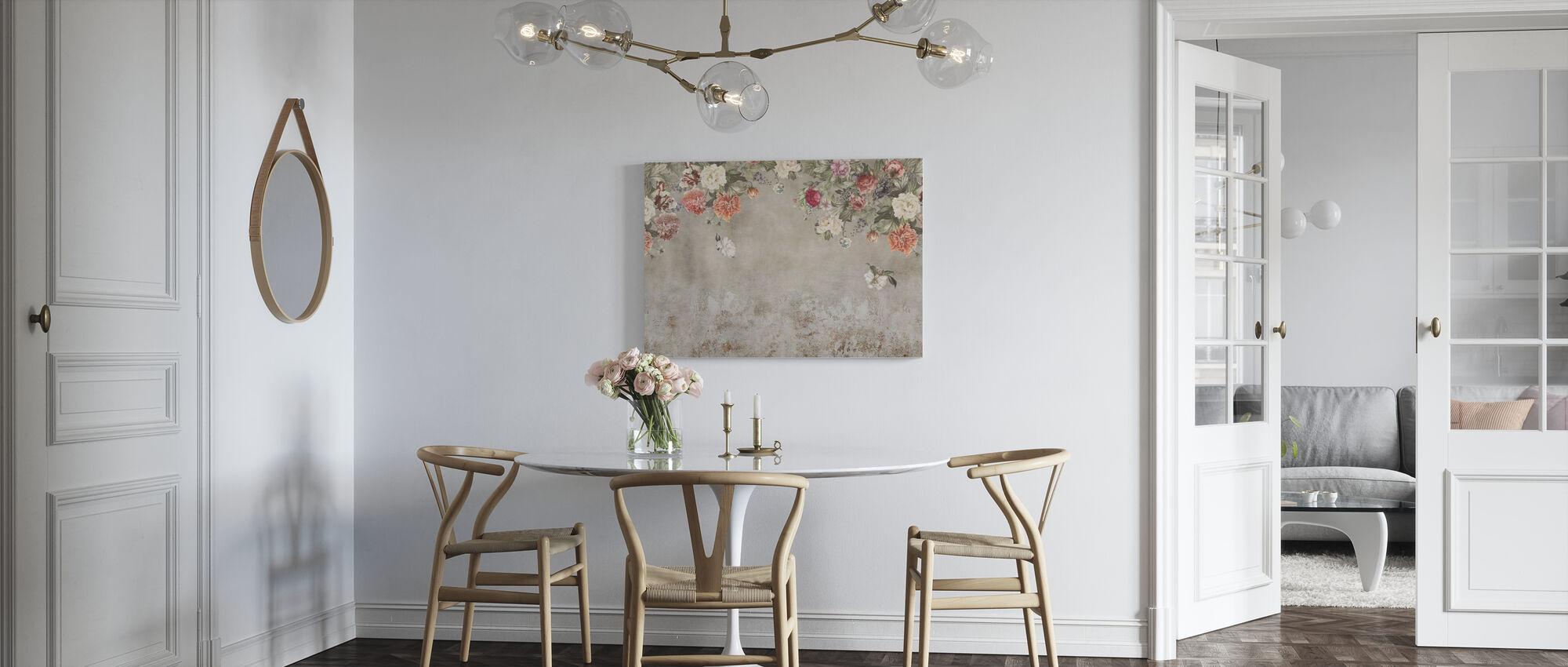 Vintage Bloem Muur - Canvas print - Keuken