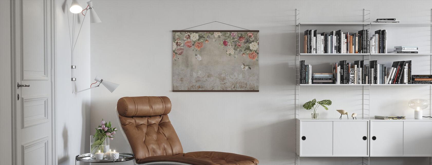 Pared de flores vintage - Póster - Salón