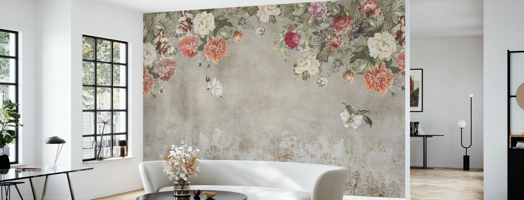 Vintage Flower Wall - Wallpaper - Living Room