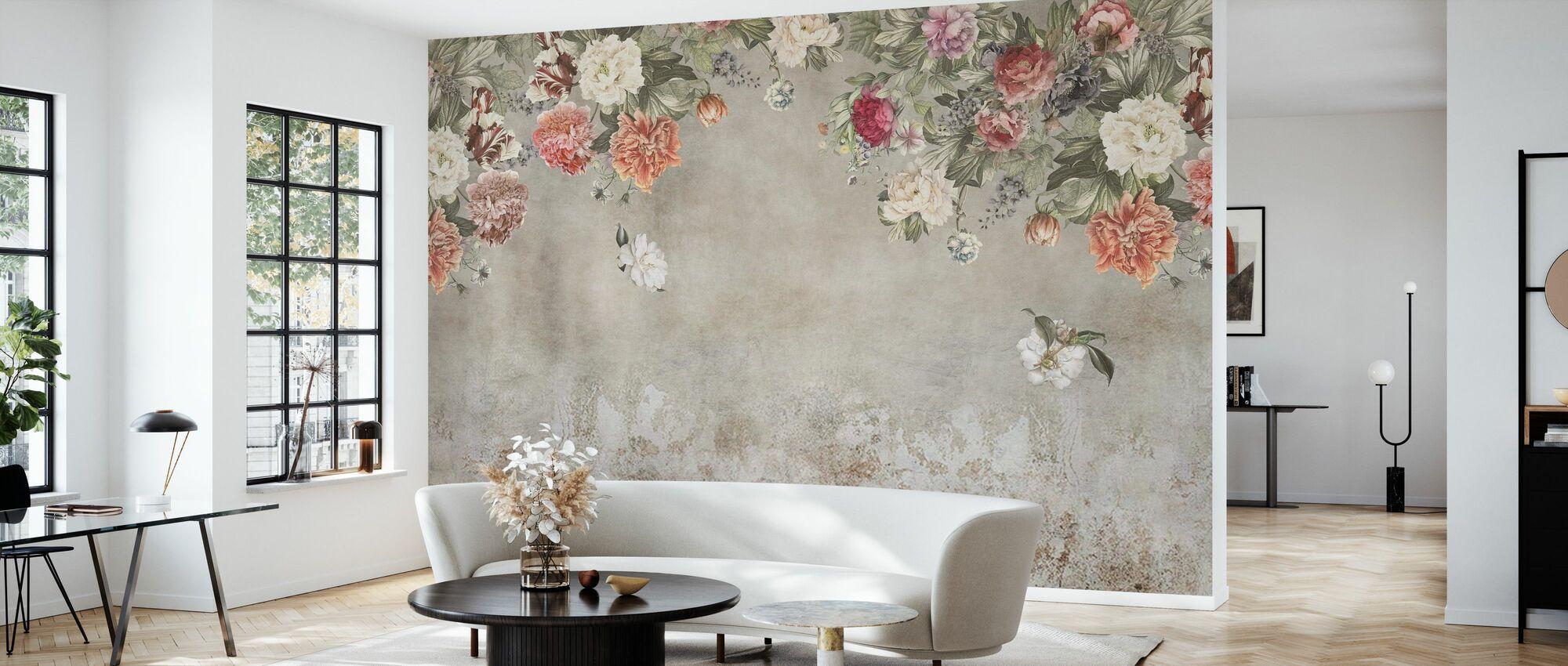 Vintage Blumenmauer - Tapete - Wohnzimmer