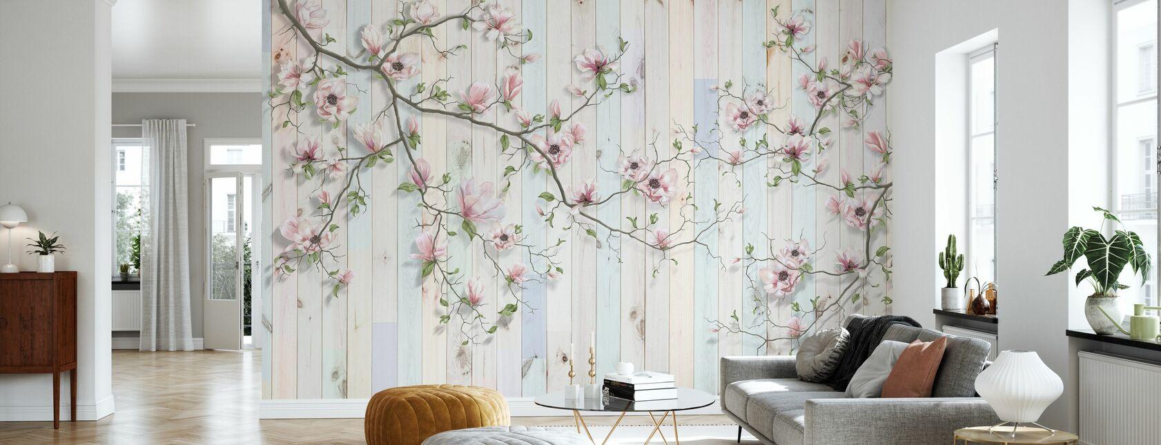 Magnolia Plank Wall - Wallpaper - Living Room