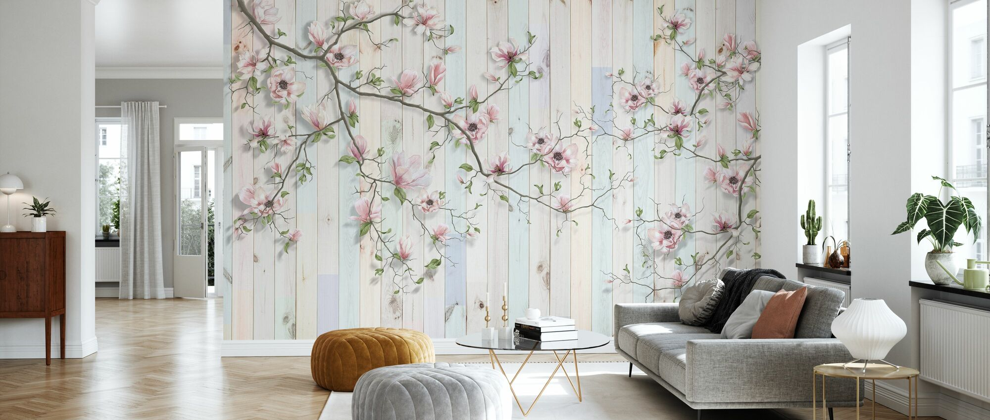 Magnolia Plank Wall - Wallpaper - Living Room