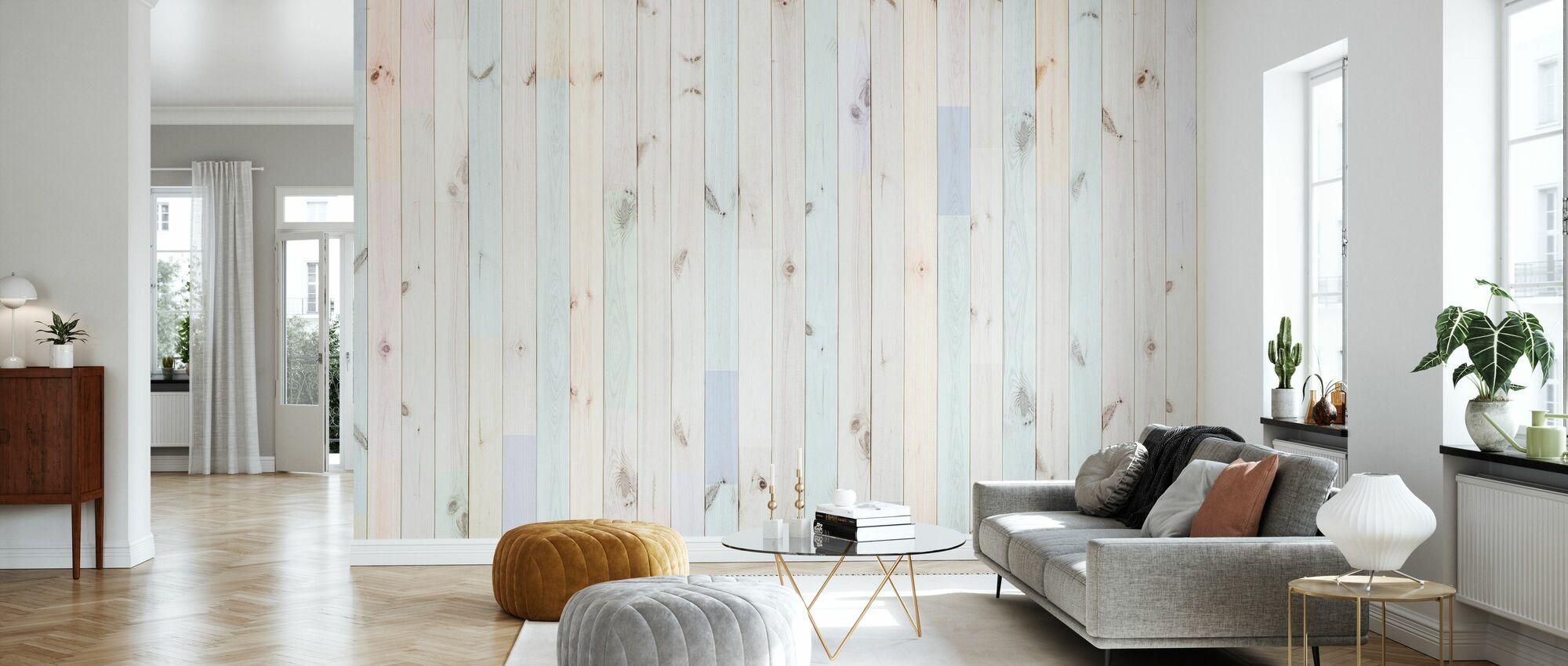 Mehrfarbige Planke - Tapete - Wohnzimmer