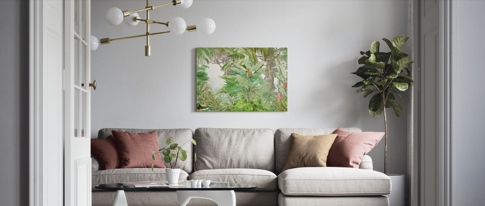 Deep Tropical - Leafy - Canvas print - Living Room