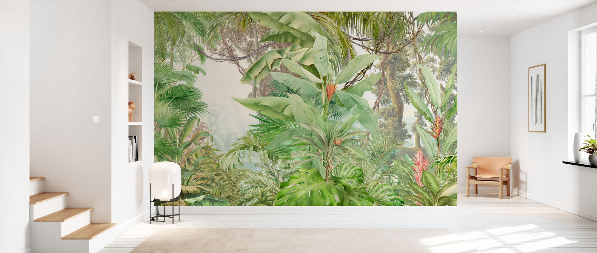 Deep Tropical - Leafy - Wallpaper - Hallway
