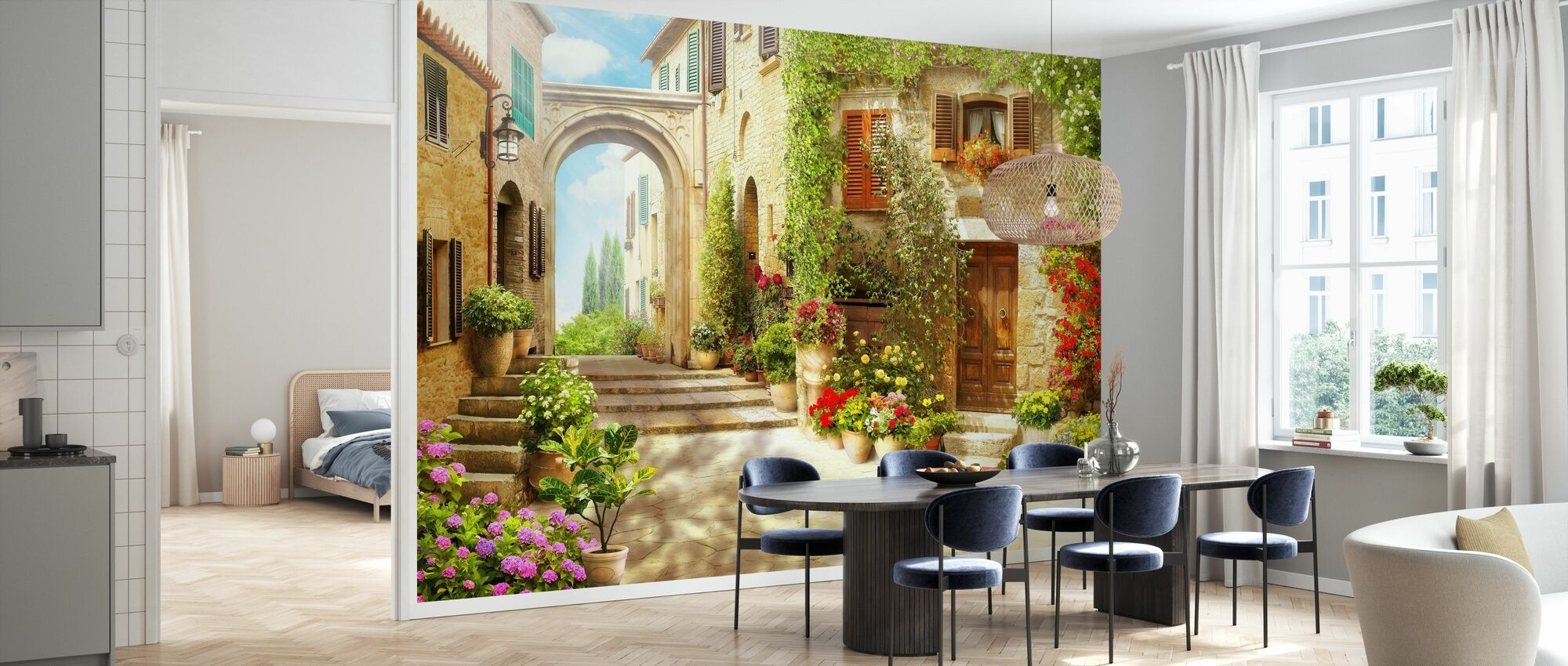 Beautiful Flower House - Wallpaper - Kitchen