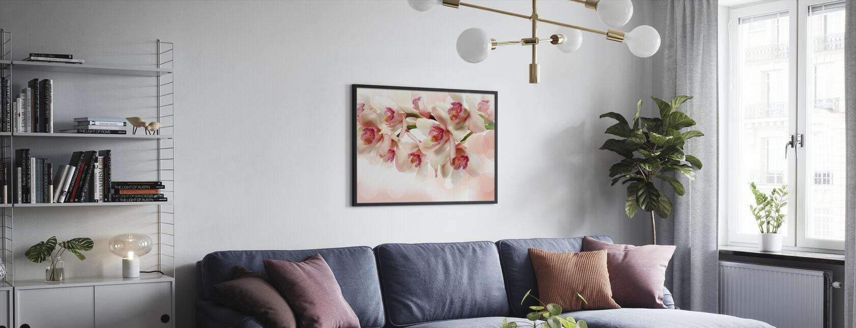Lyserød orkidé - Indrammet billede - Stue