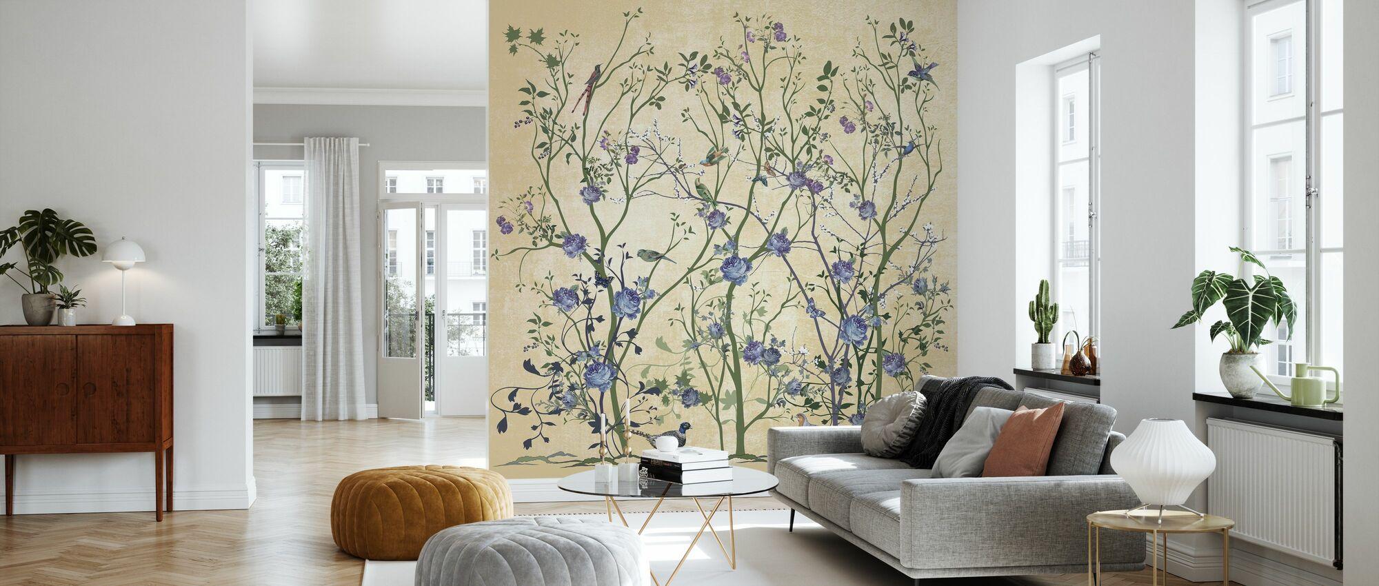 Blue Rose Bush - Wallpaper - Living Room