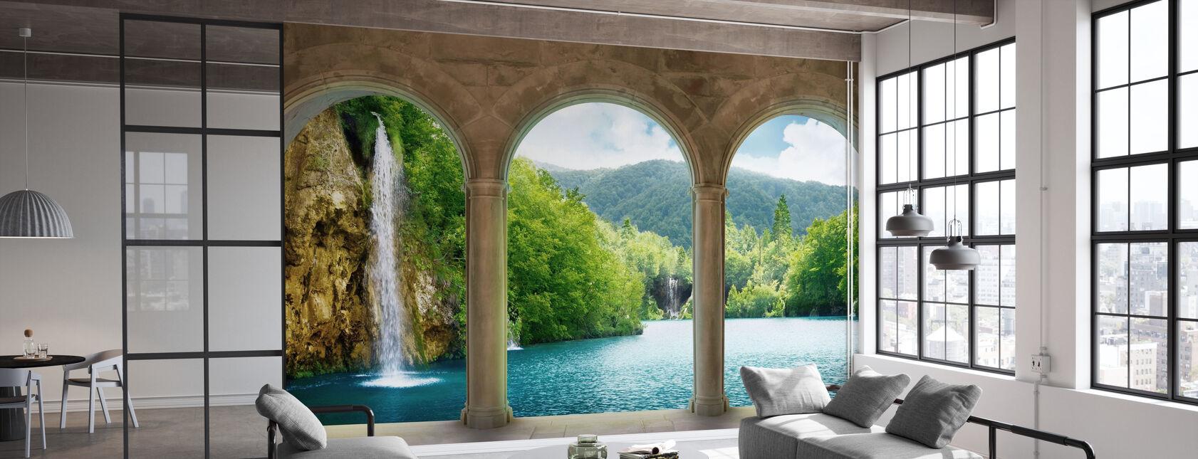 Waterfall behind Vault - Wallpaper - Office