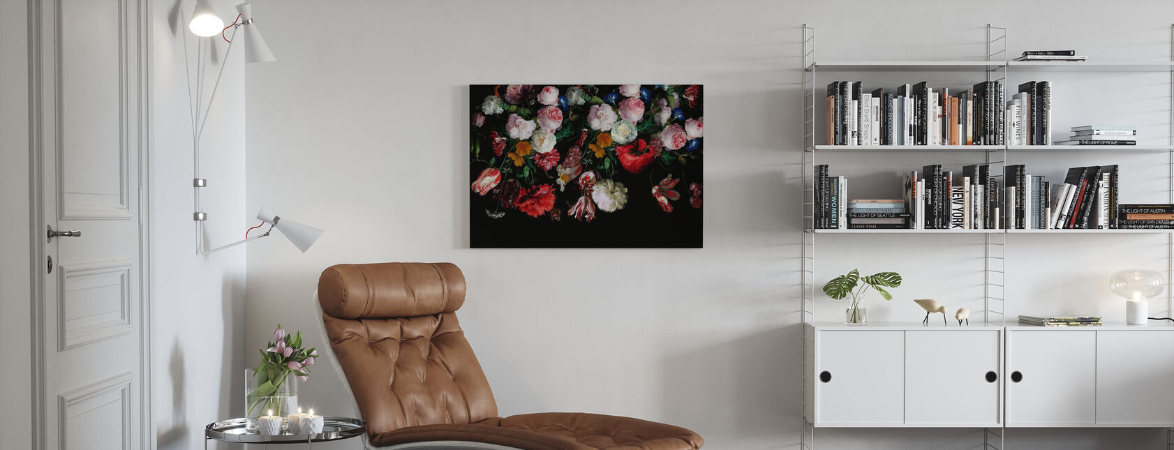 Colourful Flowers on Black Background - Canvas print - Living Room