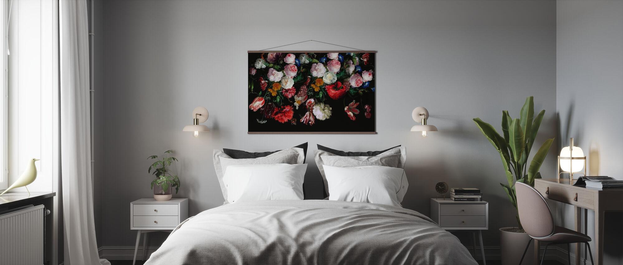 Kleurrijke bloemen op zwarte achtergrond - Poster - Slaapkamer