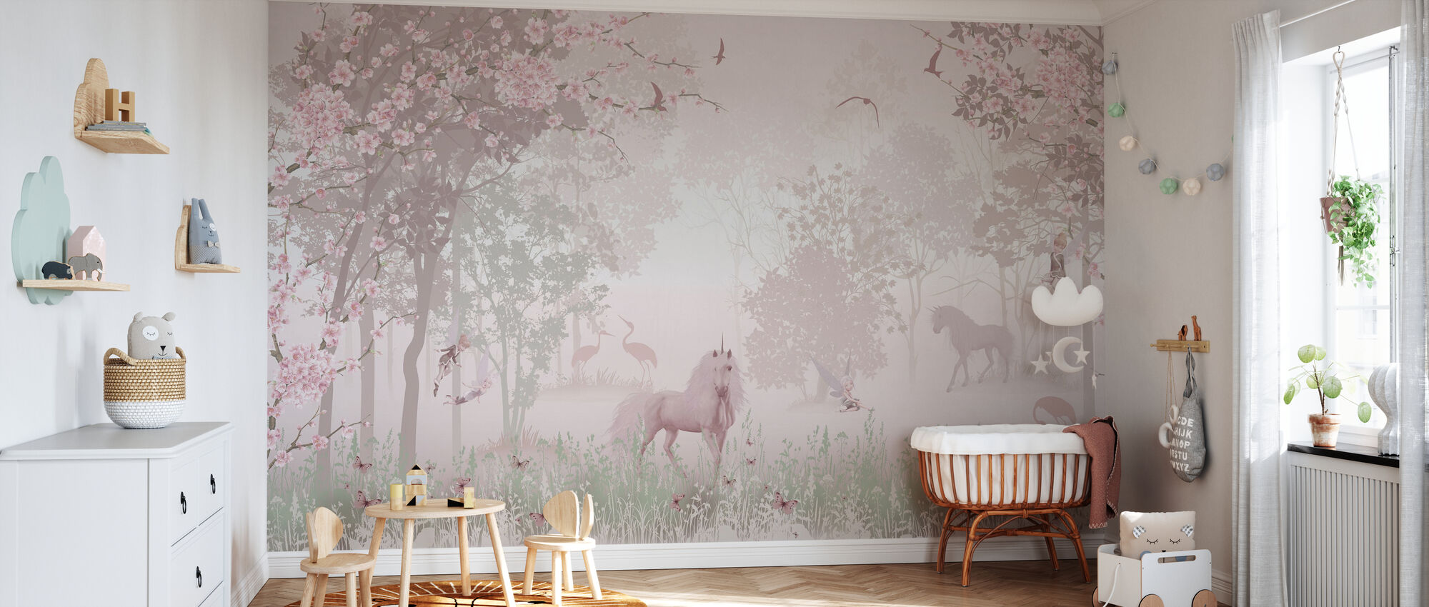 Eenhoorns in dromerig bos - Behang - Babykamer