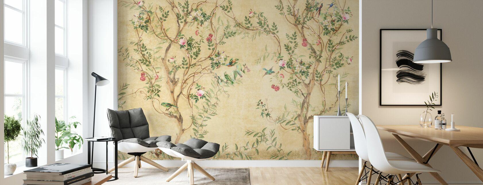 Mooie vogels in takken - Behang - Woonkamer