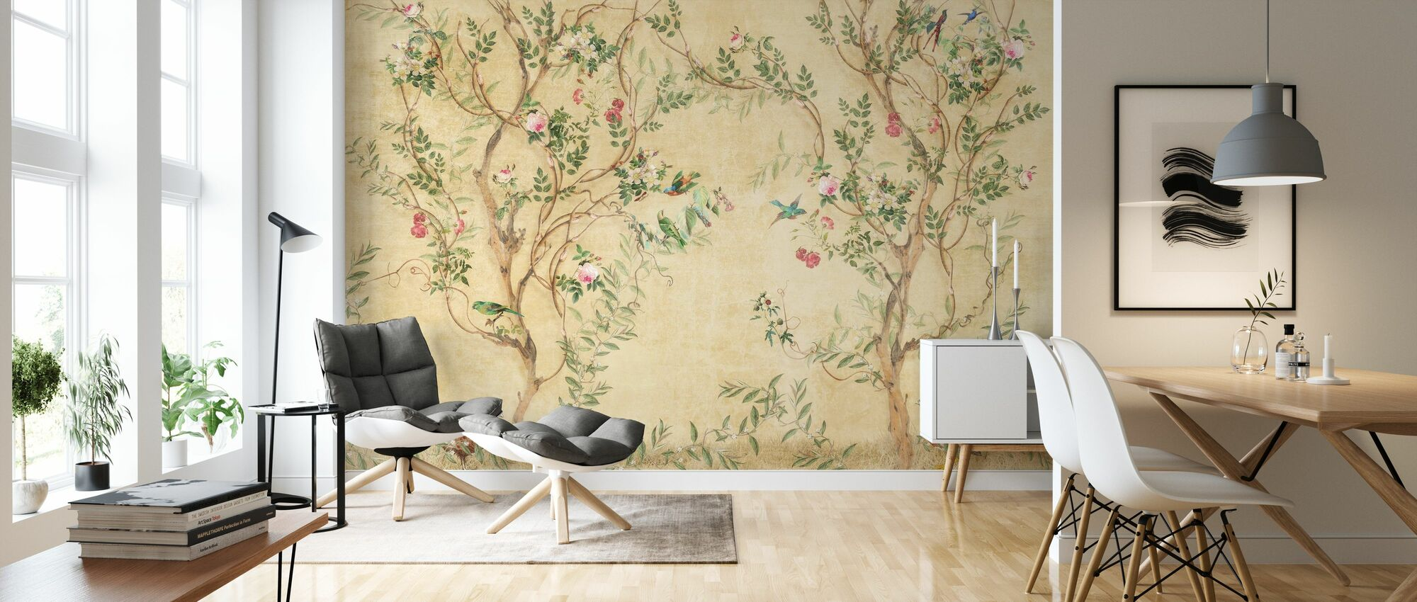 Pretty Birds in Branches - Wallpaper - Living Room