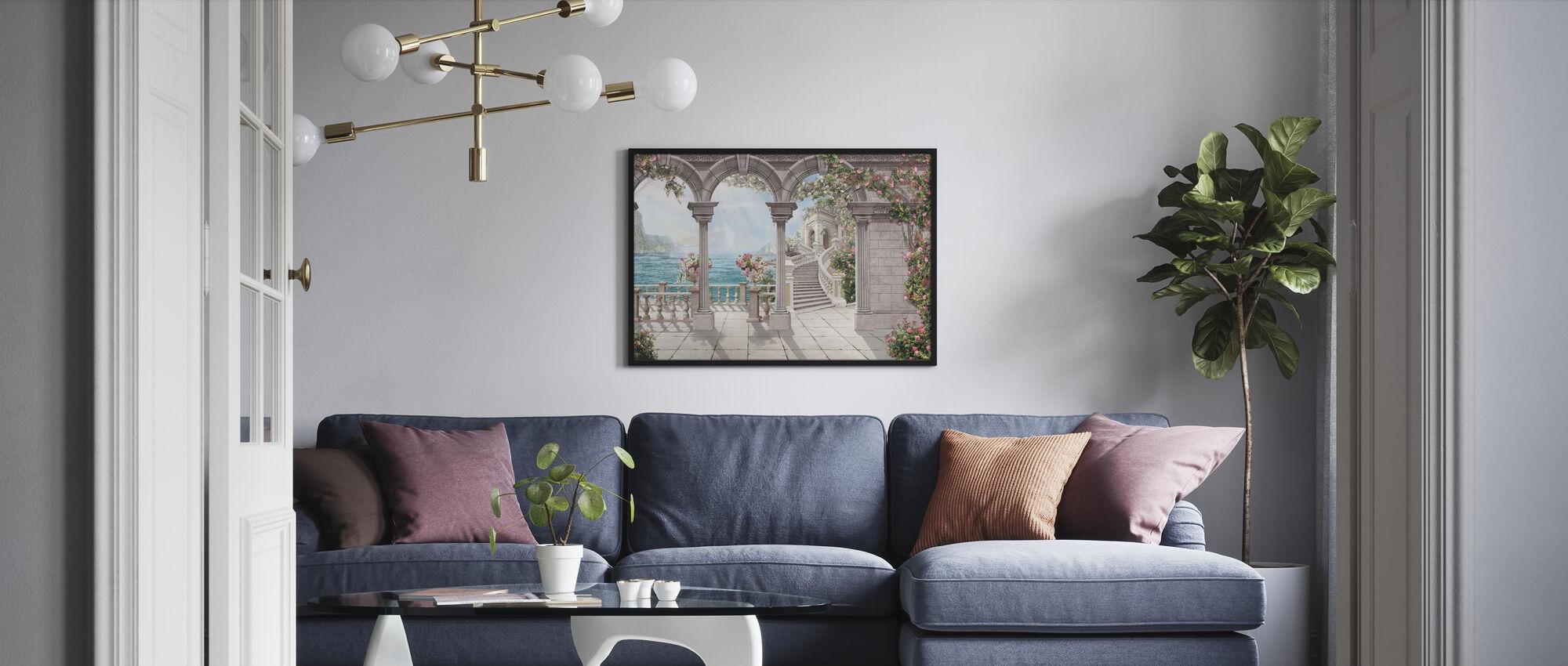 Antiikki patio - Kehystetty kuva - Olohuone
