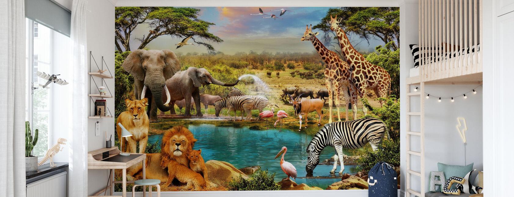 Fantasy Savanna Animals - Wallpaper - Kids Room