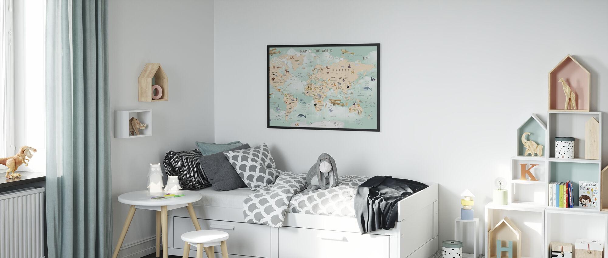 Wildlife Wereld Kaart - Ingelijste print - Kinderkamer