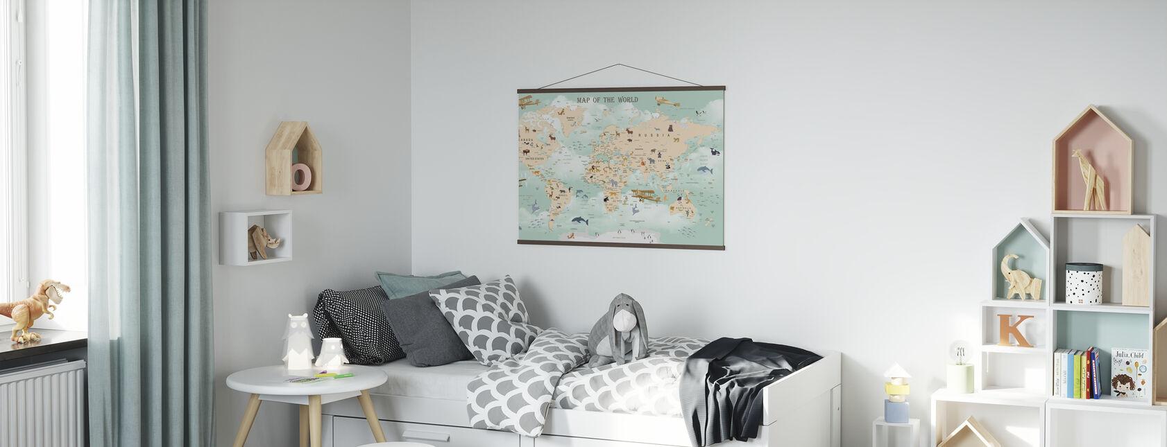 Wildlife World Kort - Plakat - Barnerom