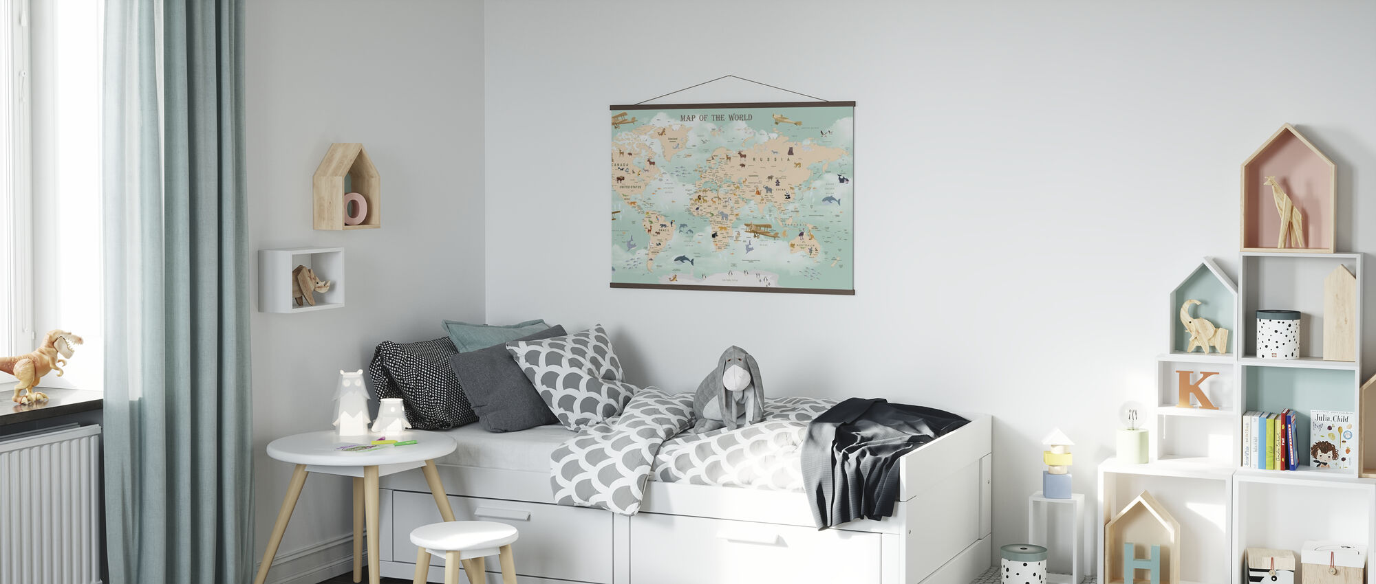 Wildlife World Map - Poster - Kids Room