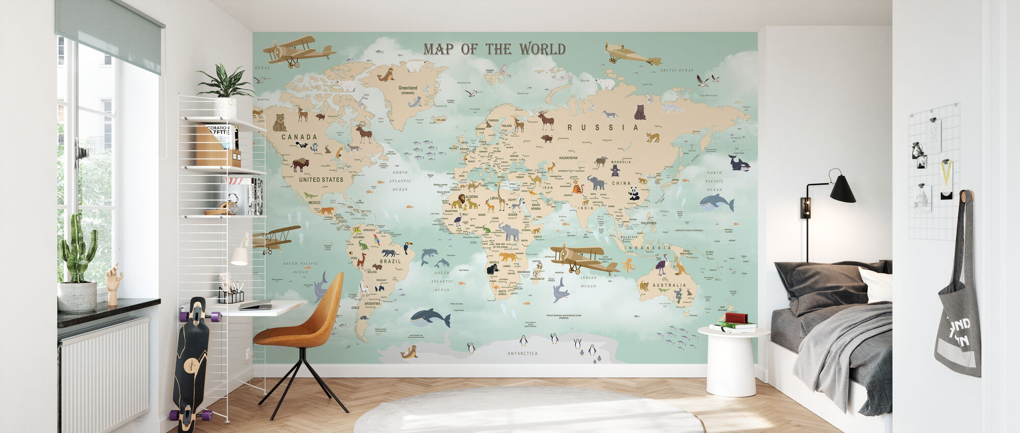 Wildlife World Map - Wallpaper - Kids Room