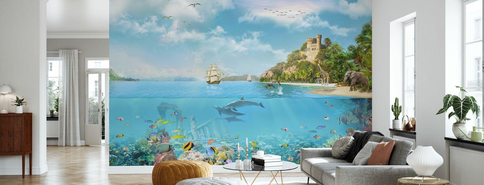 Navy Paradise - Wallpaper - Living Room