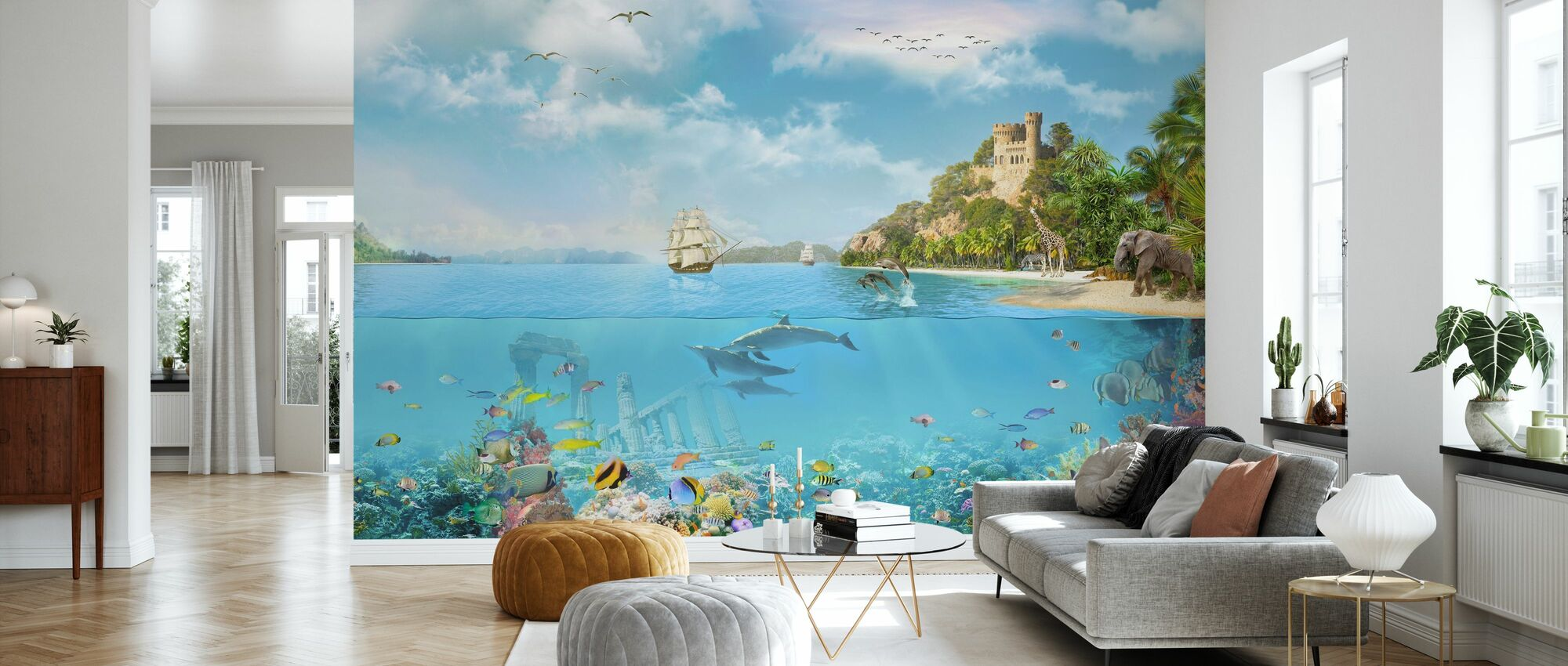 Navy Paradise - Wallpaper - Living Room
